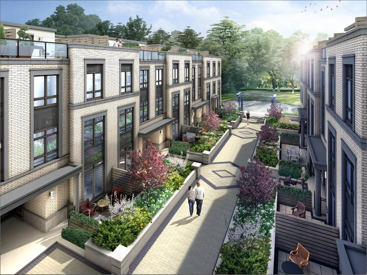 Kenneth & Holmes Urban Townhomes Courtyard Rendering, Toronto